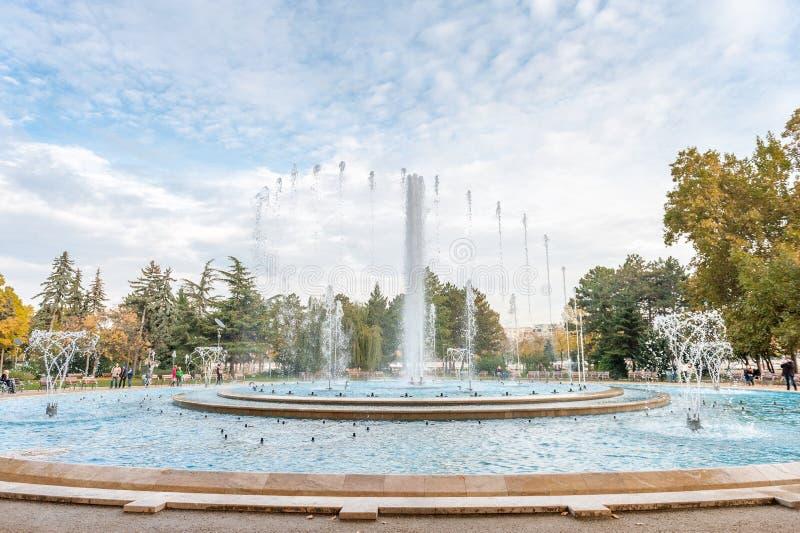 BUDAPEST, UNGHERIA - 29 OTTOBRE 2015: Fontana musicale in Margaret Island, Budapest, Ungheria immagine stock