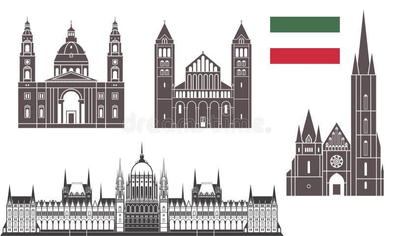 Budapest uppsättning stock illustrationer