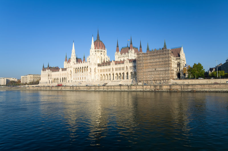 Budapest view. River Danube with blue sky and Budapest parliament royalty free stock photography
