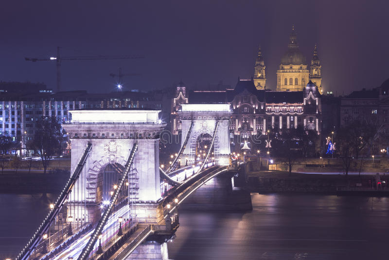 Budapest View On The Chain Bridge stock photography