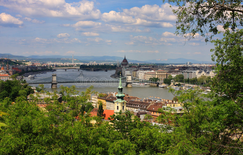 Budapest view from hill Gellert royalty free stock photography