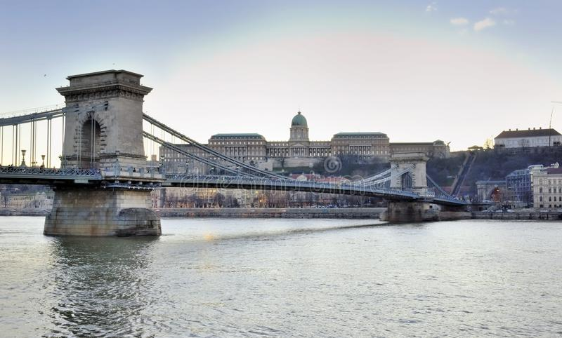 Budapest. The view on Szechenyi Chain Bridge and Buda Castle. On the sunset stock photos