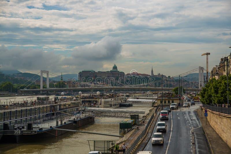 Budapest, Węgry: Elisabeth most, Royal Palace, Buda kasztel na Danube rzece w Budapest fotografia stock