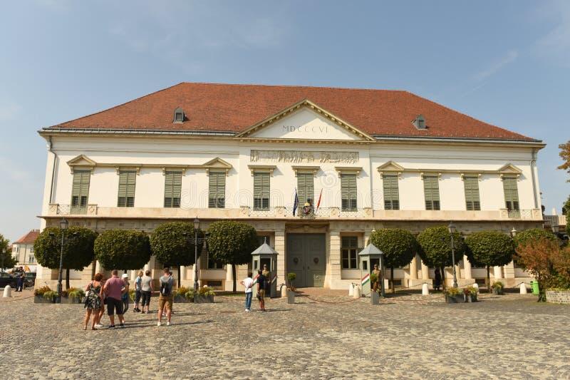 Budapest Węgry, Sierpień, - 30, 2018: SÃ ¡ ndor pałac Sandor-palota jest oficjalną rezydencją prezydent Węgry, i obraz stock