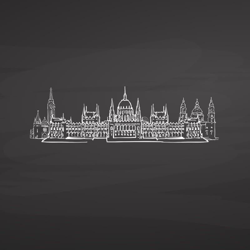 Budapest Węgry znaki na blackboard ilustracja wektor