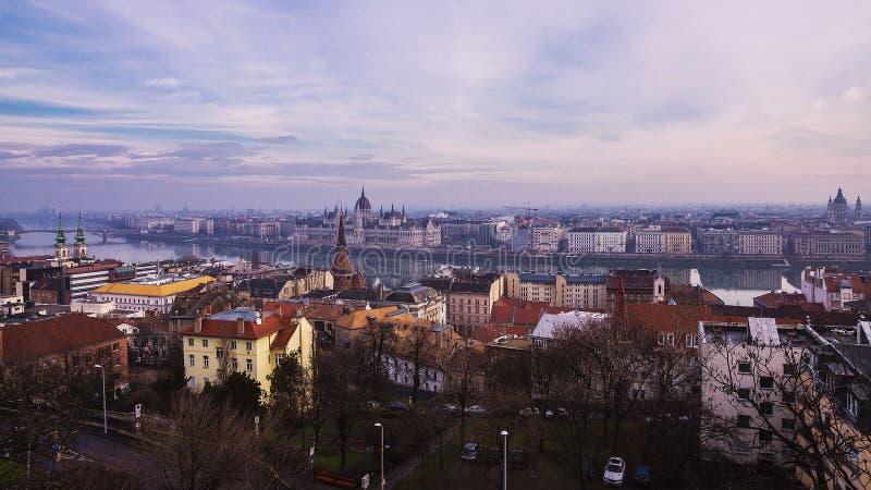 budapest wieczór Hungary panorama obraz royalty free
