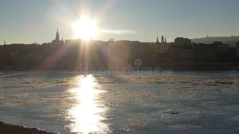 Budapest winter time - icy Danube Mathias church royalty free stock photos