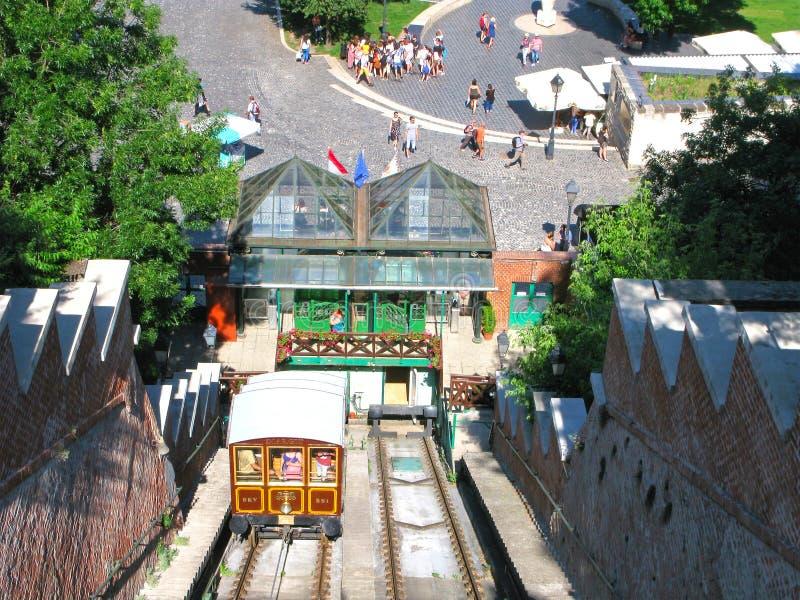 Budavari Siklo фуникулярное, люди, туристы в Будапеште стоковая фотография rf