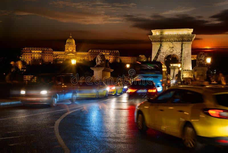 Budavari slott och Chain bro royaltyfri foto