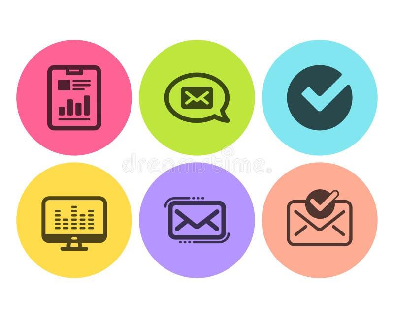 Budbärare-, musikdanande och uppsättning för rapportdokumentsymboler Verifiera, budbärarepost och godkänt posttecken vektor vektor illustrationer
