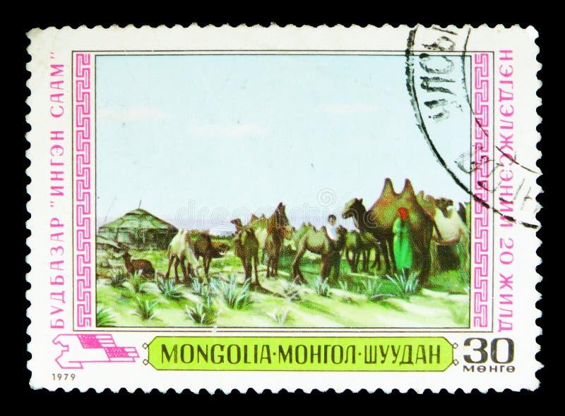 Budbazar - kamel, mongoliska målare - åkerbruk serie, circa arkivbilder