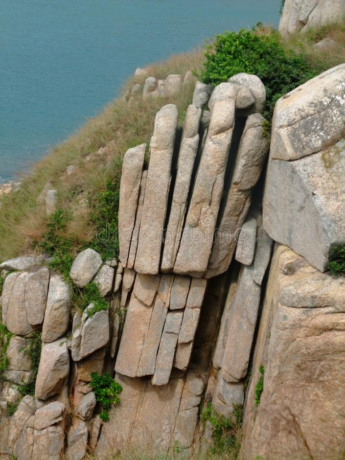 Budda在蒲台群岛香港的手岩石 库存照片
