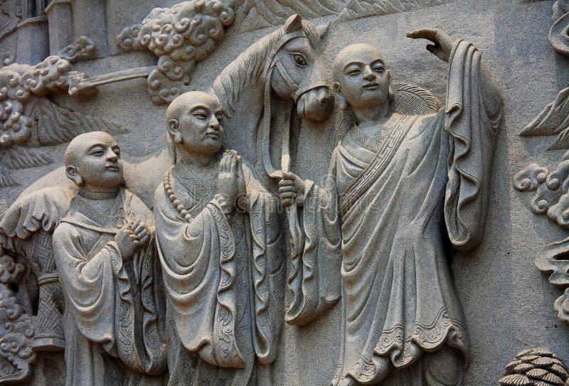 Budda石雕象在无锡灵山菩萨寺庙的 免版税库存照片