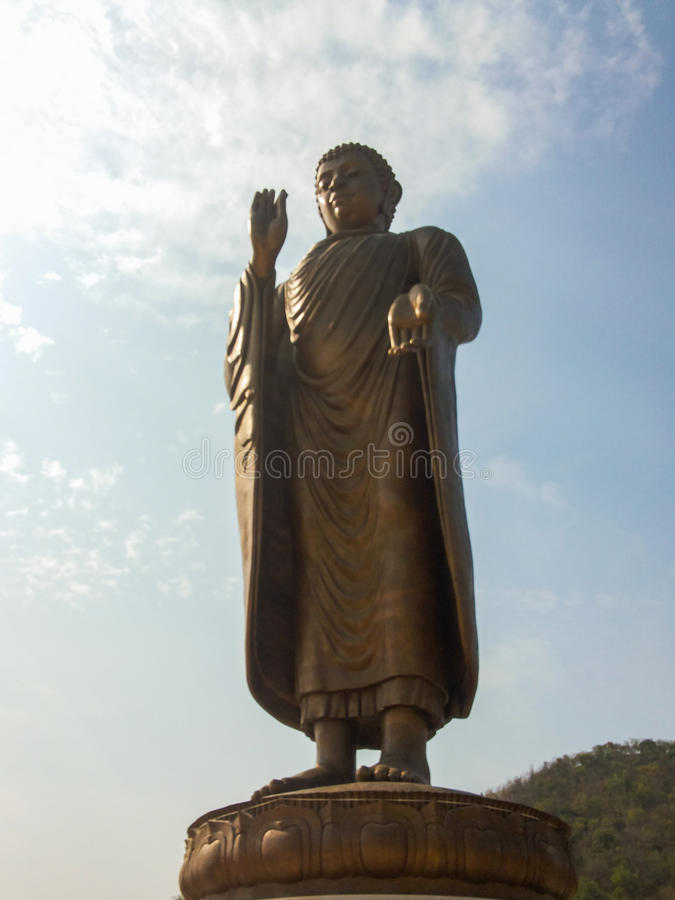 Budda stature. On sukonthip temple royalty free stock photos