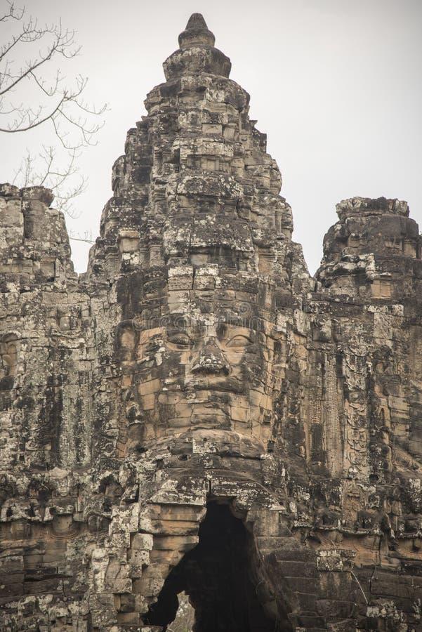 Buddahtoren Angkor Thom royalty-vrije stock foto's