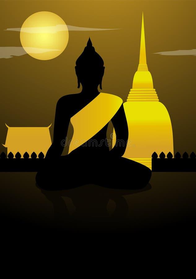 Buddha świątynia przy nocy tłem i statua ilustracja wektor
