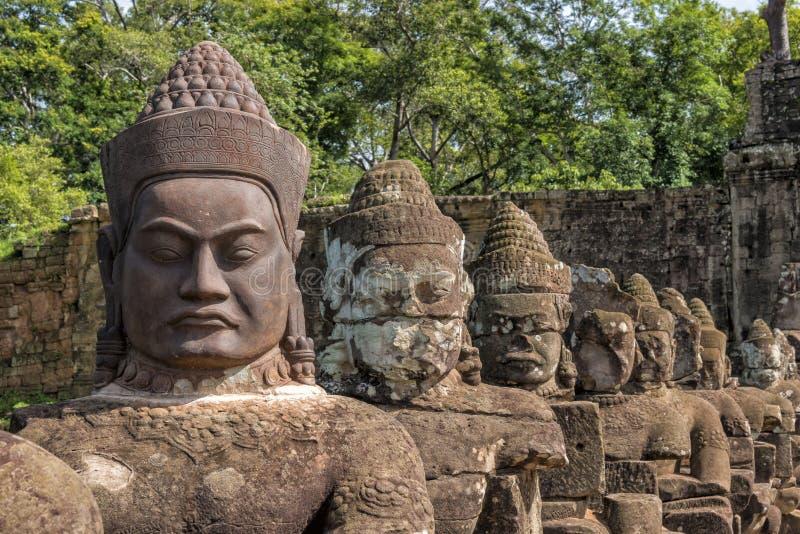 Buddha& x27; 吴哥城,柬埔寨s  库存图片