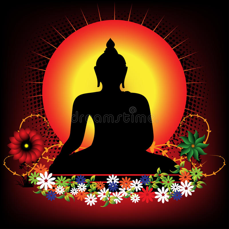 Buddha. Abstract colorful illustration with Buddha silhouette surrounded by colored flowers vector illustration