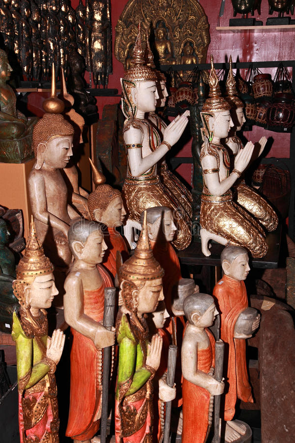 Buddha. Statues sold in Chatuchak Weekend Market, Bangkok,Thailand royalty free stock images