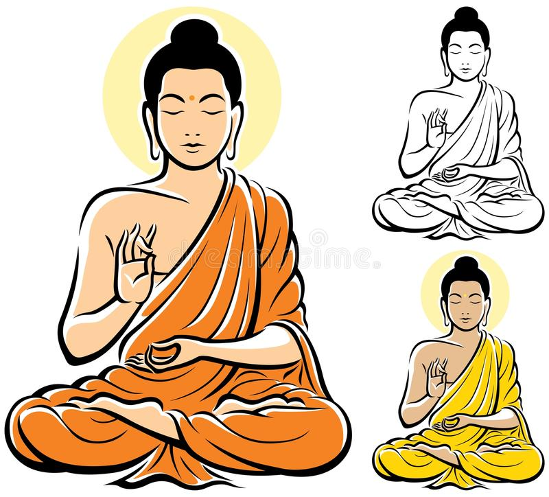 Buddha. Stylized illustration of Buddha, isolated on white background. No transparency and gradients used royalty free illustration