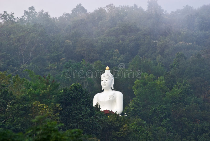 Buddha. Big White Buddha in a forest, Chiang Rai, Thailand stock image