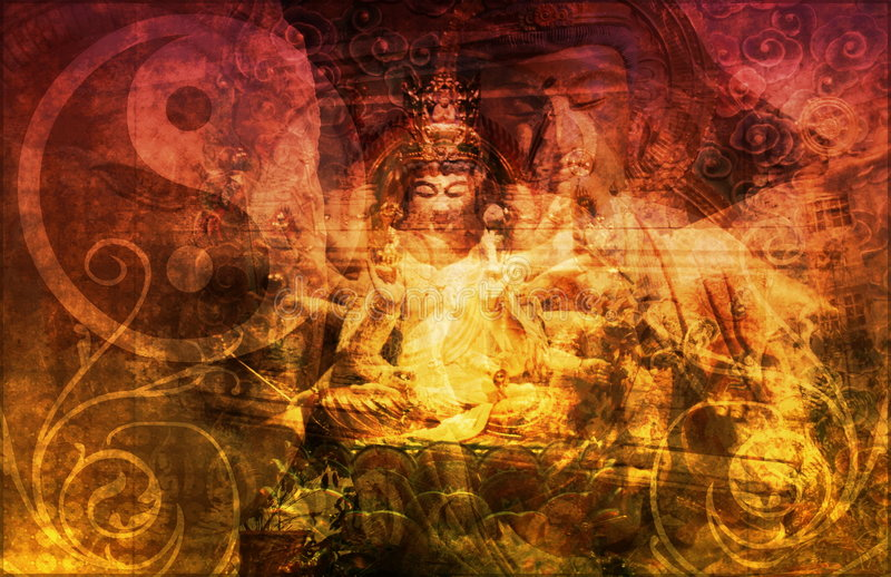 Buddha. Chinese Abstract Background as a Wallpaper royalty free illustration