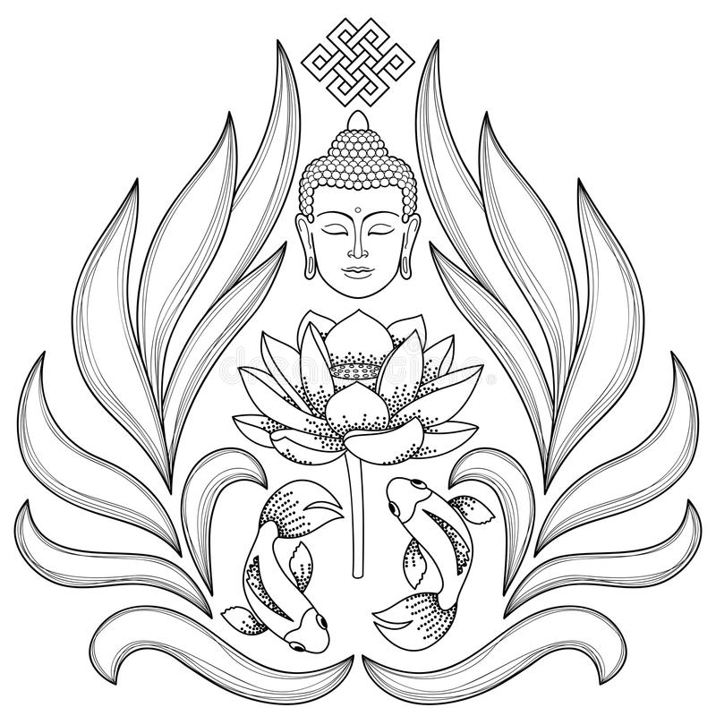 Buddha Abstract Pattern. Buddha Head with endless knot, lotus, fishes on white background. Tattoo with buddhism symbols. Coloring page stock illustration