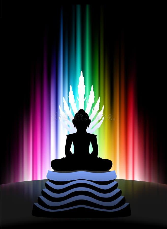 Buddha on Abstract Spectrum Background. Original Illustration royalty free illustration