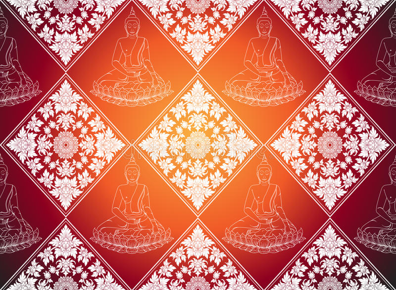 Buddha abstract thai tradition pattern background. Vector vector illustration