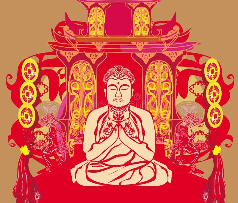 Buddha - abstrakcjonistyczny tło ilustracja wektor