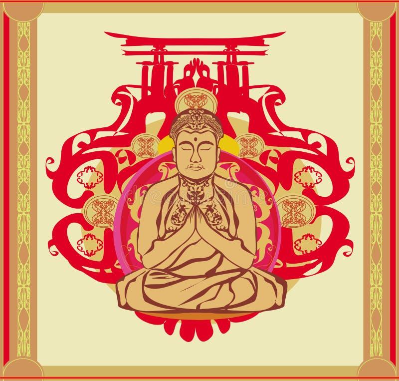 Buddha - abstrakcjonistyczny tło, piękna ornament karta ilustracji