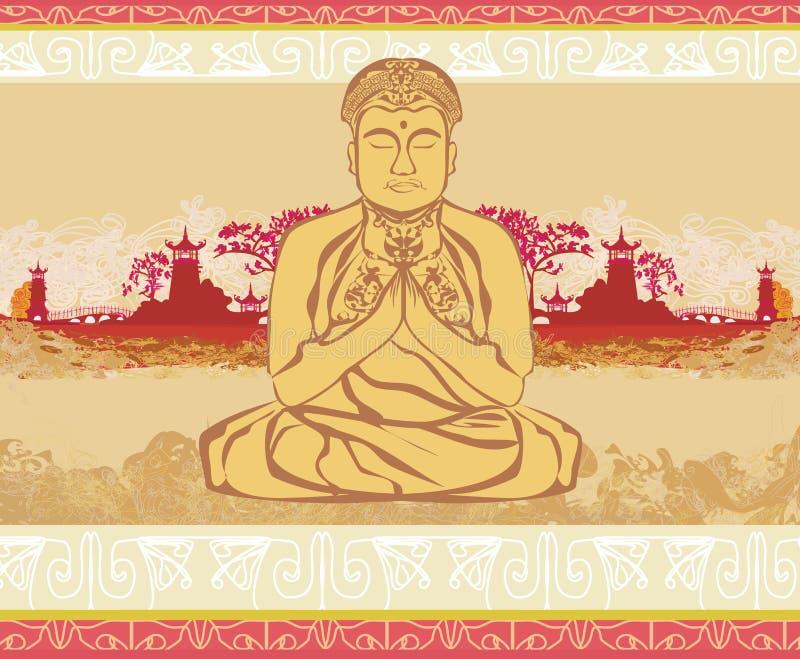 Buddha - abstrakt karta ilustracja wektor