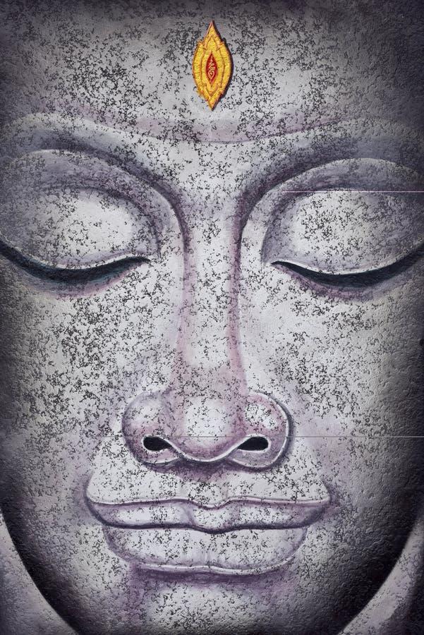 Buddha affronta la pittura acrilica illustrazione vettoriale