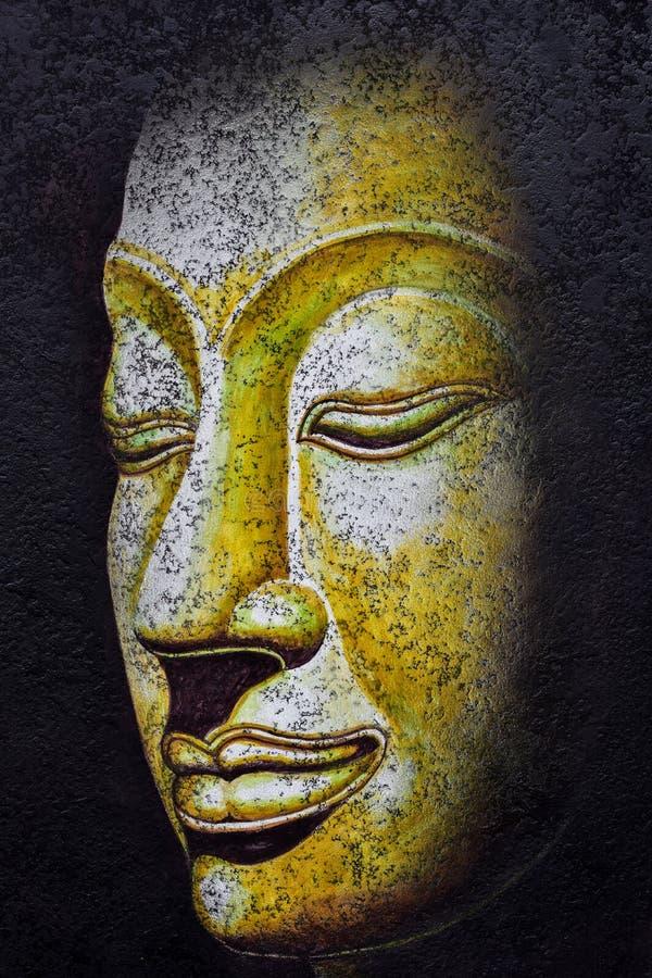 Buddha affronta la pittura acrilica fotografia stock libera da diritti