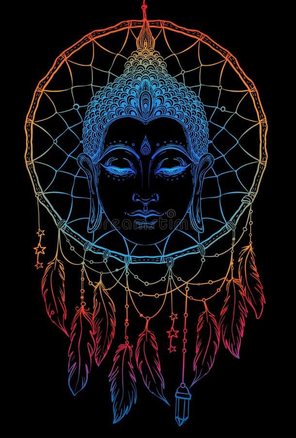 Buddha affronta sopra il modello rotondo del dreamcatcher Annata esoterica VE illustrazione vettoriale