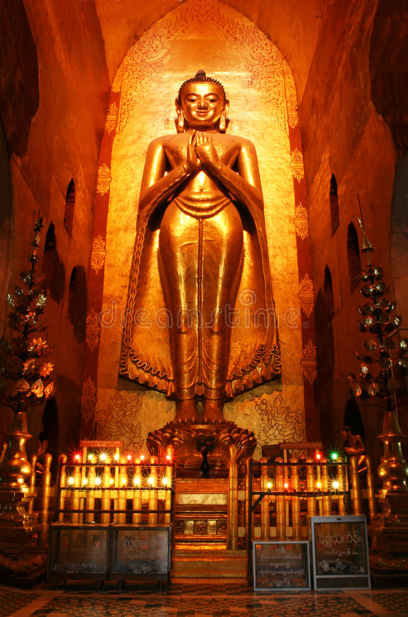 Buddha in ancient temple stock image