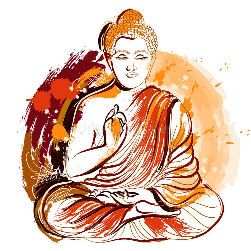 buddha Arte disegnata a mano di stile di lerciume Retro illustrazione variopinta di vettore illustrazione vettoriale