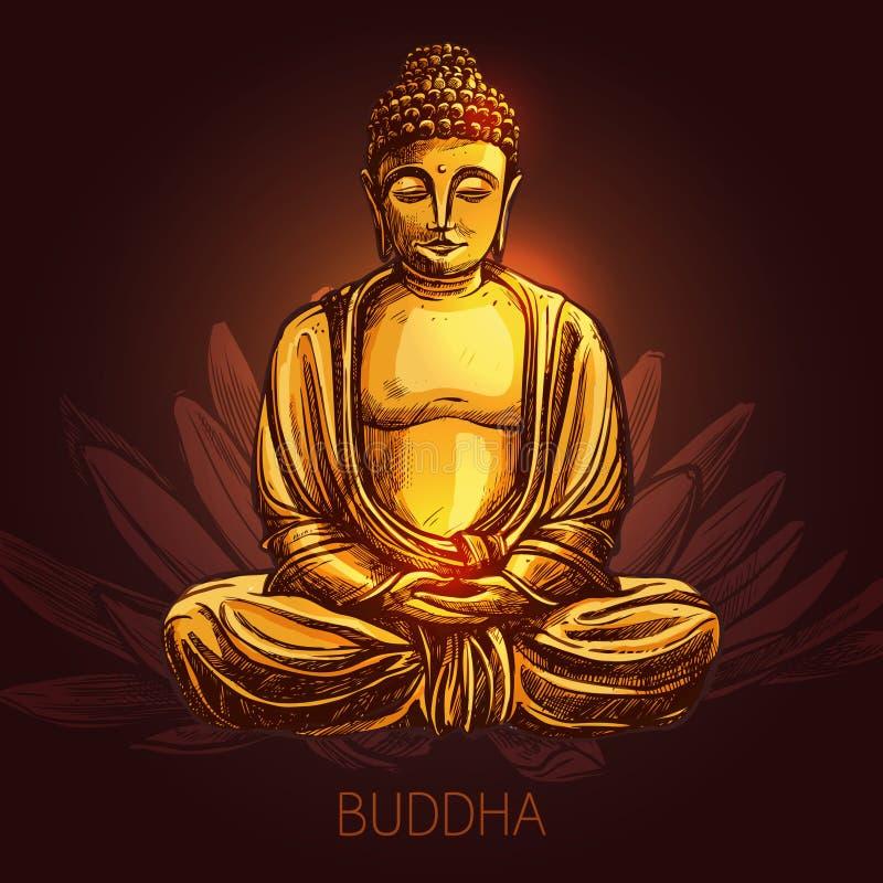 Buddha auf Lotus Flower Illustration lizenzfreie abbildung
