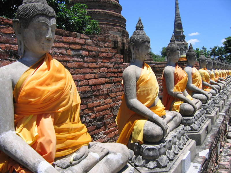 Download Buddha in Ayutthaya stock image. Image of aligned, idol - 7038365