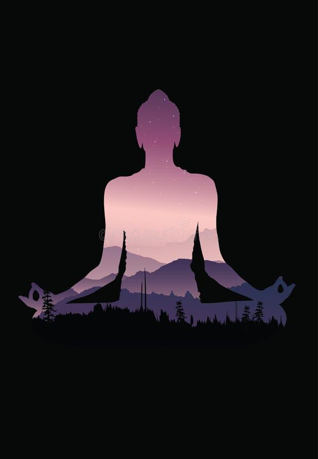 Buddha background vector, Buddha and nature, meditation background vector illustration