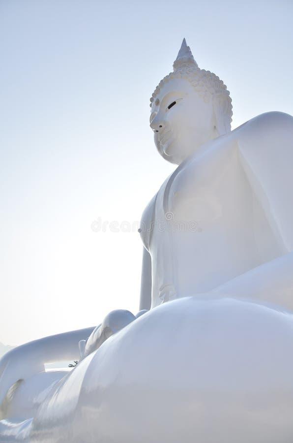 Buddha bianco in tempio di Wat Ta Muang fotografia stock
