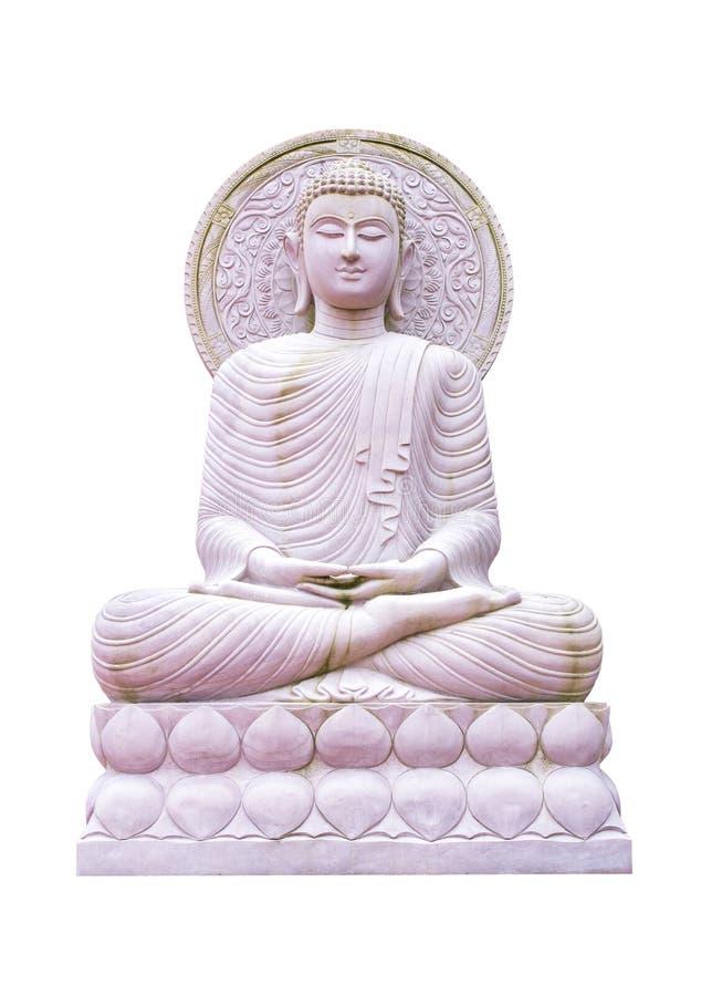 Buddha-Bildstatue, die auf dem Lotosstand lokalisiert auf weißem Hintergrund sitzt Buddha-Statue getrennt stockbild