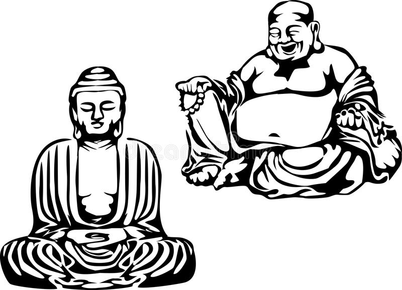 Buddha. Black and white illustration of the meditating buddha and smiling buddha royalty free illustration