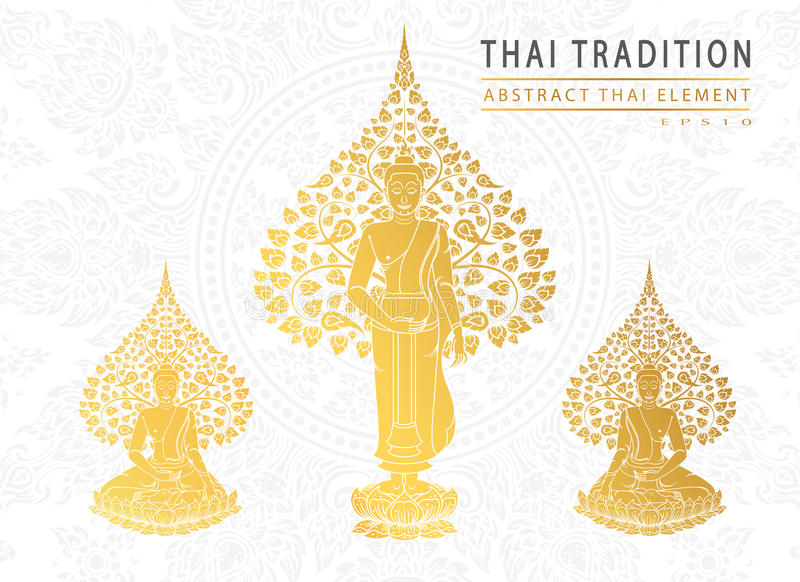 Buddha and Bodhi tree gold color of thai tradition,greeting card. Vector royalty free illustration