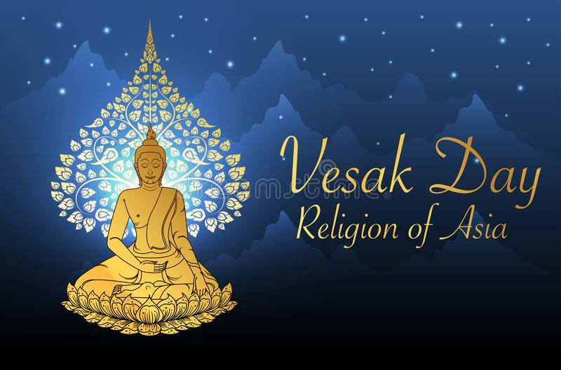 Buddha and Bodhi tree gold color of thai tradition,vesak day stock illustration