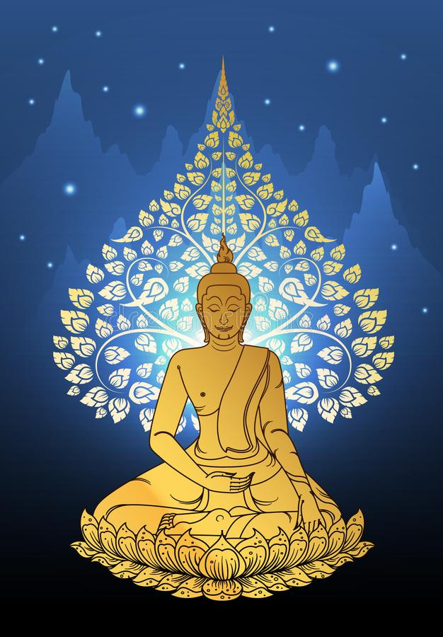 Buddha and Bodhi tree gold color of thai tradition,vesak day. Vector stock illustration
