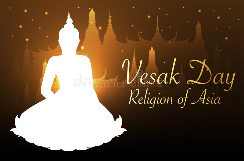 Buddha and Bodhi tree gold color of thai tradition,vesak day. Vector vector illustration