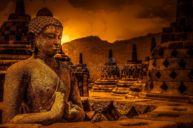 Buddha In Borobudur. Buddha statue in Borobudur temple in Jawa in Indonesia royalty free stock photo