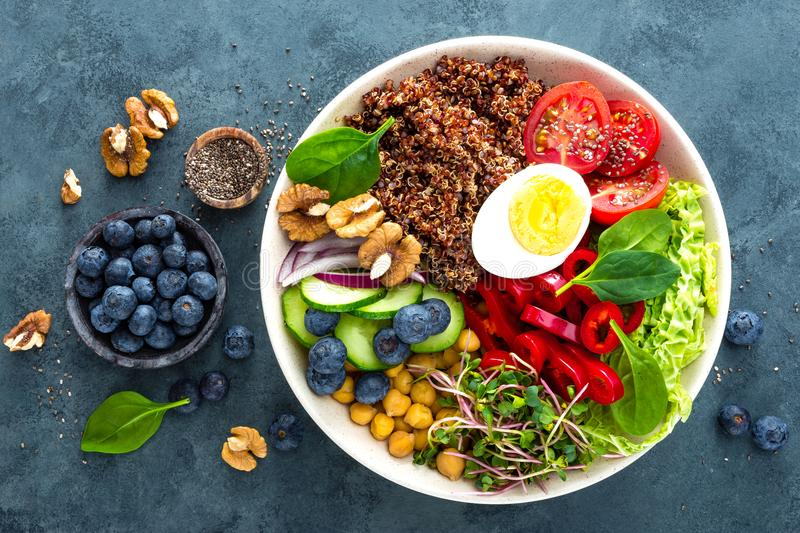 Buddha bowl dinner with boiled egg, chickpea, fresh tomato, sweet pepper, cucumber, savoy cabbage, red onion, green sprouts stock images