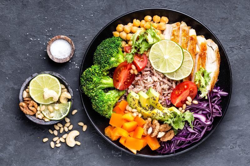 Buddha bowl dish with chicken fillet, brown rice, avocado, pepper, tomato, broccoli, red cabbage, chickpea, fresh lettuce salad, p royalty free stock photos